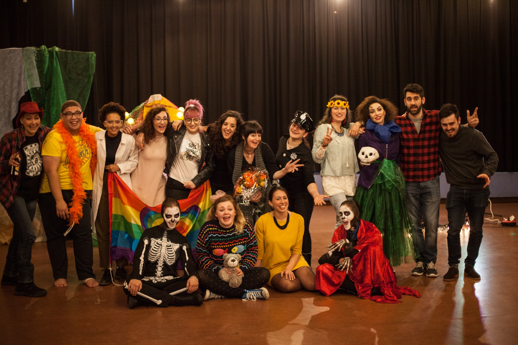 Act Attack group. Some people dressed in carnival or halloween costumes